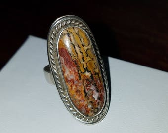 Leopard Skin Jasper 925 Ring size 7