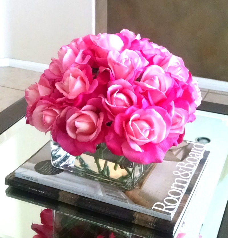 Real Touch Floral Arrangement- Silk flowers-Pink Roses-Silk faux arrangement -Fake flowers-White Real Touch Roses-Pink Arrangement