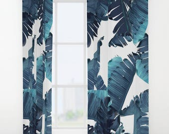 Blue Window Curtains, Banana Leaf Curtain Panels, Tropical Leaf Pattern, Maximalist Decor, Blue White Bedroom, Summer Vibes, Coastal Decor