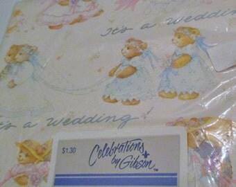 Celebrations by Gibson Wedding Gift Wrap, NOS Wedding Gift Wrap, Vtg Teddy Bear Wedding Gift Wrap, Teddy Bear Gift Wrap