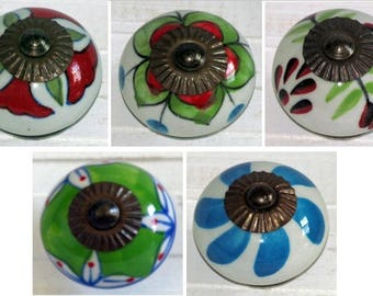 50, Green, Red, White, Blue, Decorative Knobs, Ceramic Knobs, Furniture Knobs, Dresser Drawer Pulls, Cupboard Knobs, Door Knobs