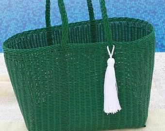 ONE LEFT! Large Plastic Beach Bag/Tote. Kelly Green with White Tassel/Pom! Handmade in Guatemala. Perfect Pool, Beach or Basket Bag!