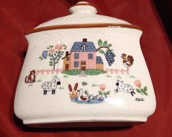 Vintage Jamestown China Country Homes Pattern Napkin Holder