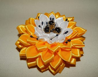 Kanzashi flower girls ladies hair bows clips. Yellow Flower Hairclip.