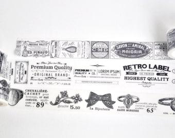 Vintage Black & White Japanese Washi Tape, Masking Tape, Planner Stickers - WT374