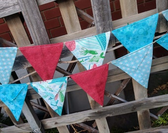 Fabric Bunting Flag Banner Pennants, Wedding Decoration, Baby Shower, Bright, Colorful Bunting, Coral Queen of the Sea ready to ship