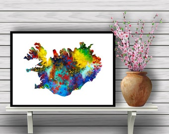 Colorful Map of Iceland, Island Country, Watercolor Room Decor, Iceland's Map Home Decoration, gift, Instant Download (394)