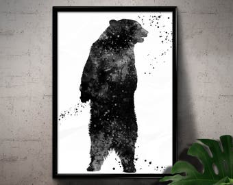 Black and White Grizzly Bear, Wild Animal, North American Brown Bear, Watercolor Room Decor, Printable Wall Art, gift, Instant Download (05)