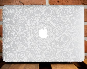 White Mandala MacBook Air 13 Case MacBook Pro Cover MacBook Pro Retina 15 Case MacBook Pro 15 Cover MacBook 12 Cover Mandala Case WCm004