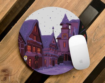 Office Mouse Pad Winter Town Design Custom Mouse Mat Computer Accessories Office Gift Printed Office Supplies Desk Accessories CMP_063