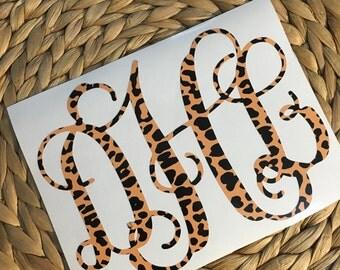 Cheetah Print Monogrammed Vinyl Decal