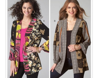 Sewing Pattern for Misses' Patchwork Kimono Jackets, McCall's Pattern 7132, Open Front Jacket, Plus Size Avail, Kimono Top