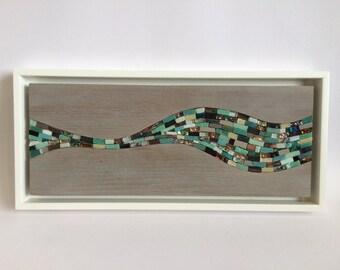 Sea wave art mosaic panel in distressed limed oak - series 2 : 1/5