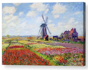 "Claude Monet ""1886 Fields of Tulip With The Rijnsburg Windmill"" Canvas Box Art A4, A3, A2, A1 ++"