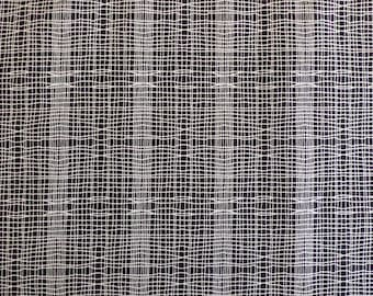 Cotton Fabric - Imprint by Jane Makower - Stitch Check Black - 1m length x 112cm wide