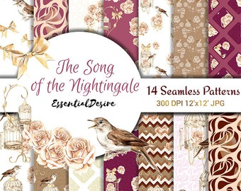 Watercolor Bird cage Paper Pack, Nightingale Illustration Scrapbook, Magenta Peach Roses Seamless Paper, Handpainted Gold Patterns Printable