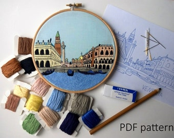Venice Hand Embroidery pattern PDF. Embroidery Hoop art,  Wall Decor, Housewarming Gift. Free Hand embroidery guide!