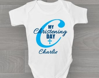 Personalised My First Christening Day! Boys Baby Grow, Bodysuit Baby Onesie Vest New Arrival Gift.