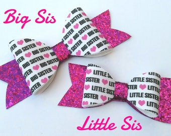 Big sister, Little sister, hair bows, big sis, little sis, baby headbands, glitter, felt, set,baby shower, pink, black, white, uk seller