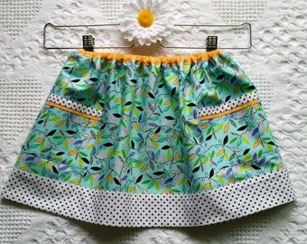 Baby girl turquoise banded skirt, side pockets