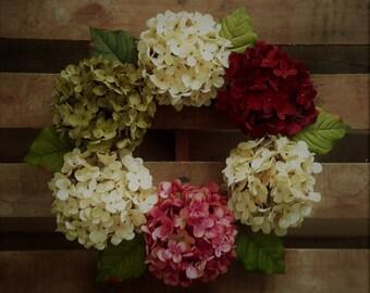 Spring Wreath, Everyday Wreaths,  Front Door Wreath, Wreath, Hydrangea Wreath