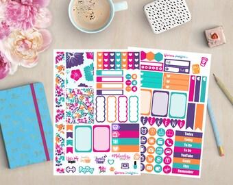 Summer Hibiscus Personal Planner Sticker Kit | Happy Planner, Erin Condren