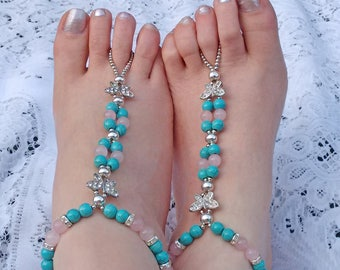 Rhinestone Barefoot Sandals, Turquoise and Rose Quartz Barefoot Sandals, Turquoise Barefoot Sandals, Butterfly Barefoot Sandals