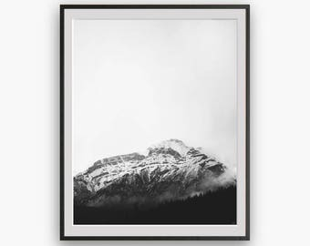Black and White Mountain Photography, Modern Minimalist, Minimal Art, Minimal Wall Decor, Scandi Print, Nature Wall Art, Mist Print, Prints