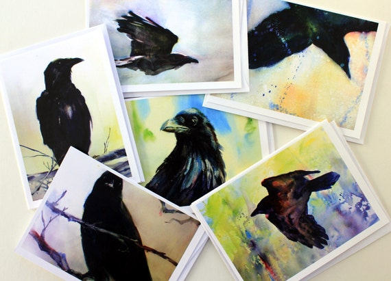 Ravens - note cards - crows - raven cards - crow cards - greeting cards - blank cards - Bonnie White - raven art - made in the gorge