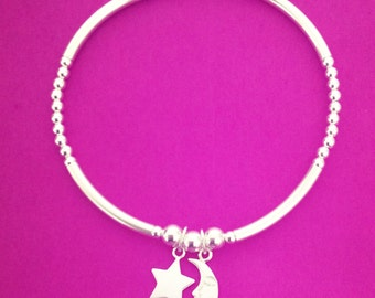 Sterling Silver Mix Bead Moon & Star Charm Bracelet