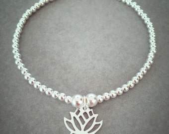 Sterling Silver Cutout Lotus Flower Charm Bracelet