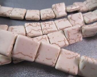 White Magnesite Square Beads 29pcs