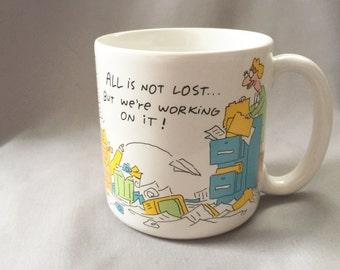 Office Scene Mug // Vintage Mug // Office Humor // Cubicle Decor // Gifts for Secretaries // Secretary Gift (D6)