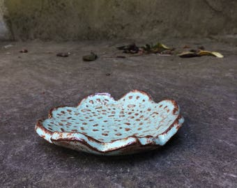 small trinket dish - hand built pottery - ceramic - 10% proceeds benefit humane society