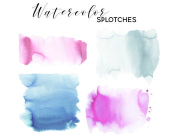 Watercolor Rectangle Spots Clipart, Brush strokes, Splodges, Splotches, Abstract Watercolour, Backdrop, Frame, Logo Pink Grey