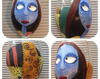 Tim Burton inspired Sally frim Bightmare before Christmas wineglass