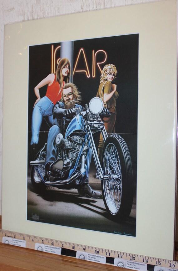 """David Mann """"Bike Parking"""" 16"""" x 20"""" Matted Motorcycle Biker Art #7811ezrxmc"""