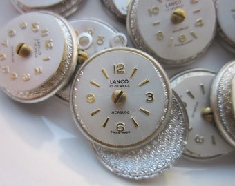 12 Handmade Charms, Vintage Silver Watch Face Charms, 21mm x 18mm