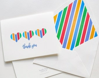 Rodan and Fields Thank You Foldover Card - Striped Hearts Thank You 2