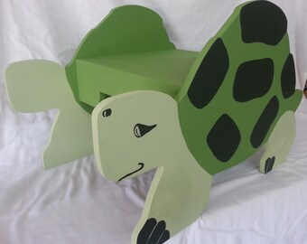 Wood Wooden Hand Painted Child's Turtle Stool