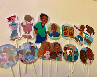 Little Bill cupcake toppers. (12) Little Bill Cake toppers. Birthday party supplies.