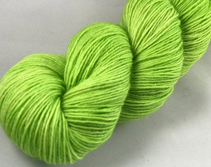 "Hand Dyed Fingering Yarn, 100% Superwash Bluefaced Leicester Wool ""Lima Bean"""