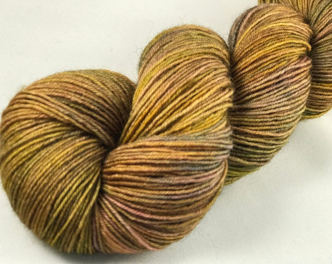 "Hand Dyed Fingering Yarn, 100% Superwash Bluefaced Leicester Wool ""Golden Dusty Rose"""