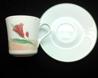 4 Corelle Pacific Bloom Cups and Saucers by Corning made in USA