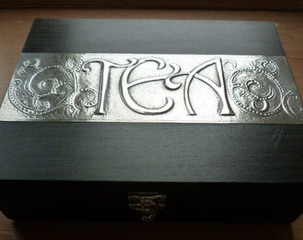 Tea Box with 9 compartments and Pewter Detail