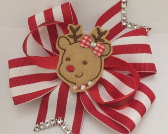 Christmas Rudolph the Red Nose Reindeer Bow. Ready to ship NOW!