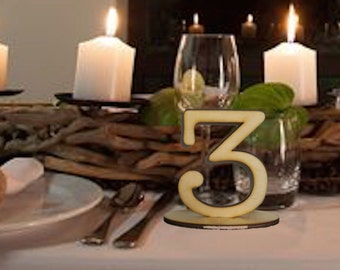 10cm Table Number SETS,Timber/Wood/Ply/Wooden/ Freestanding, Wedding,Party,Restaurant Table No's VividLaser-A