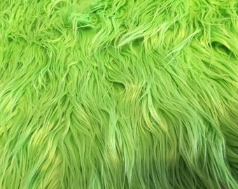 "Mongolian Long Faux Fur Polyester Fabric High Spring Green Grass 14""X43"" Piece Fake"