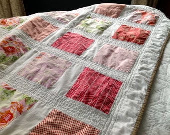 "Handmade Quilt / Pink and White Quilt / Throw-Size Quilt / 45"" X 65"" lap quilt / Pink, Red, and White Quilt / Couch Quilt / Girl Quilt"