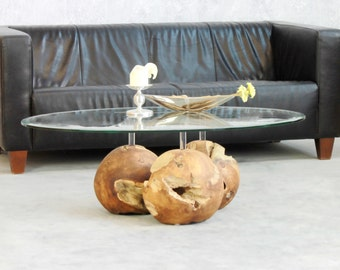 Coffee table trio balls teak solid wood ball